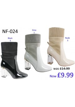 NF-024 Ankle boot with sock block heel and side zip patent material  £9.99 each +VAT