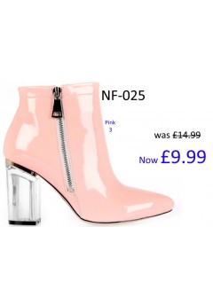 NF-025 Ankle boot with clear block heel and side zip Patent material  £9.99 each +VAT