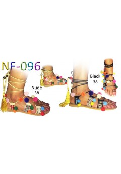 NF-096 Ladies Pom pom Gladiator sandals Was £7.99 Now £4.99 each + vat