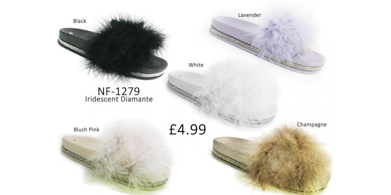 Ladies Diamante Fur Slider