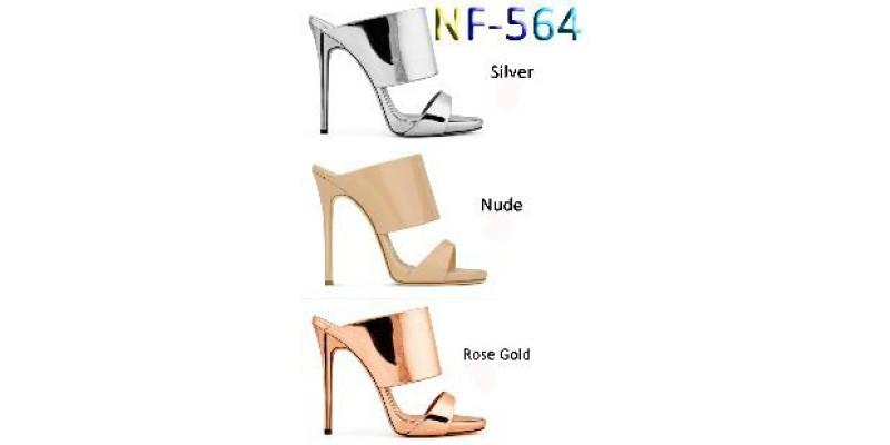 LADIES High Heel Metallic MULES