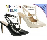 NF- 716 LADIES PEARL PATENT POINTY TOE SHOES  £13.99 +VAT