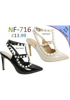 NF-716 LADIES PEARL PATENT POINTY TOE SHOES  £13.99 +VAT