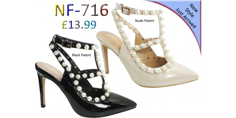 LADIES POINTY MOUTH PEARL PATENT SHOES