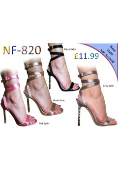NF-820 Women's Spiral Heel Satin Sandal Now £11.99 each + VAT