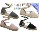 NF 831 Ladies Rockstud Espadrille sandals Was £8.99 Now £7.99 each + VAT