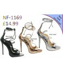 NF-1169 Ladies Snake Skin Tie Back Zip High Heel sandals £14.99 each + VAT