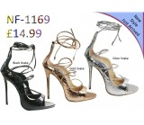 NF-1169 Ladies Snake Skin Tie Back Zip High Heel sandals £14.99 Now £11.99 each + VAT
