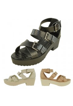 Angie mid heeled gladiator snake print sandal £7.99 each Now £2.99 + VAT