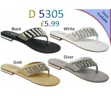 D 5305 Ladies Embellished Flat sandals Was £5.99 now £3.99 each + VAT