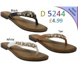 D 5244 Ladies Jewel Flat sandals £4.99 each + VAT