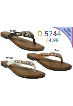 D 5244 Ladies Jewel Flat sandals £4.99 each + VAT