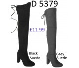 D 5379 Over the Knee faux suede tie back Hi heel boot,  £11.99 each +VAT