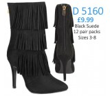 D 5160 Tassel Hi Heel boot, black Suede with functional back zip.  £9.99 each +VAT