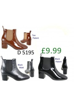 D 5195 Patent Chelsea Style Mid Heel Boot  £9.99 each Now £4.99 +VAT