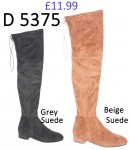 D 5375 Knee Length flat tie- back suede boot, £11.99 each +VAT