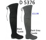 D 5376 Knee length flat tie back suede boot, £11.99 each +VAT