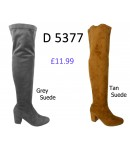 D 5377 Over the Knee Mid Heel Suede boot, £11.99 each +VAT