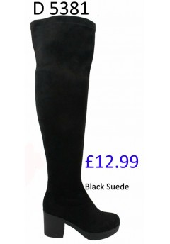 D 5381 Over the Knee Hi Heel platform boot, black Was £12.99 Now £9.99 each +VAT