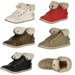 D4672 Kids Girls uk10-2 fur lined high top trainers from £4.99 each
