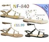 NF 840 LADIES STUDDED FLAT GLADIATOR SANDALS £11.99 + VAT