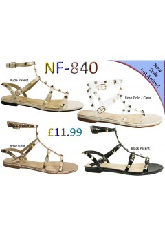 NF-840 LADIES STUDDED FLAT GLADIATOR SANDALS £11.99 Now £6.99 + VAT