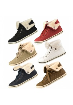 D4673 Kids Girls uk10-2 quilted fur lined trainers Was £4.99 Now £1.99 each