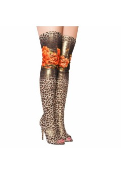 NF 362 Over the Knee Hi Heel Leopard Print Open Toe Boot, was £19.99 now £4.99 each +VAT