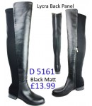 D 5161  Knee High Flat Heel Lycra Back Panel Riding boot, black  £13.99 each +VAT
