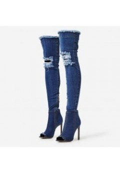 NF 266 Over the Knee Hi Heel Denim Open Toe Boot, Now £12.99 each +VAT