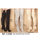 NF-1108 Faux Suede Above Knee High-Heel Multi Buckle Pointy Boots Was £22.50 Now £19.99 each +VAT