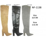NF 1138 Over the Knee Block Heel Faux Suede Pointy Boot, Was £17.99 Now £16.99 each +VAT