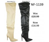 NF 1139 Over the Knee Stiletto Heel Faux Suede Pointy Boot,  Was £20.99 Now £16. 99 each +VAT