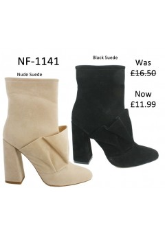 NF 1141 Ruche Suede  Ankle Boot,  Was £16.50 Now £11.99 each +VAT
