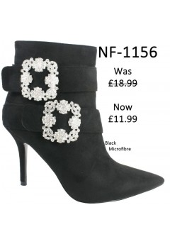 NF 1156 Faux Buckle Detail Suede Pointy Ankle Boot, Was £18.99 Now £11.99 each +VAT