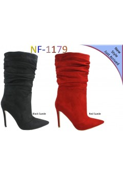 NF 1179 Over the Knee Hi Heel Ruche Up Pointy Boot, £16.99 each +VAT