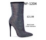 NF-1204 Black Suede With Silver Diamante High Heel Ankle Boot  £21.99 each +VAT