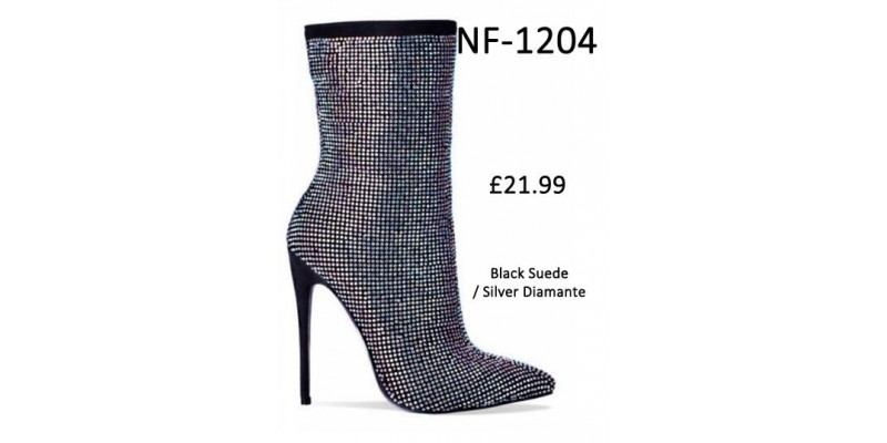 Black Suede With Silver Diamante High Heel Ankle Boot