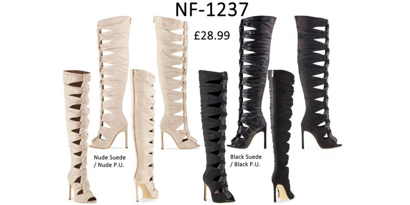 Gladiator Style Knee Length High Heel Boots