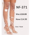 NF-371 Perspex Thigh High Pointy Clear Heel Boot With Back Zip ,Was  £19.99 Now £14.99 each +VAT
