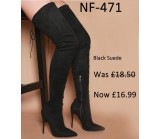 NF 471 Thigh High Pointy High Heel Boot With Side Zip ,Was  £18.50 Now £16.99 each +VAT