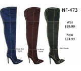 NF 473 Over the Knee Hi Heel Studded Suede Pointy Boot, Was £29.50 Now £24.99 each +VAT