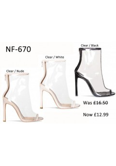 NF-670 Perspex Open Toe High Heel Boots Was £16.50 Now £12.99 each +VAT