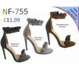 NF 755 Glitter Frill high Heel sandals £11.99 each + VAT