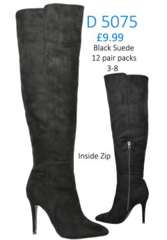 D 5075 Suede Pointy Hi Heel  Boot With Functional Side Zip Detail, black  £9.99 each +VAT