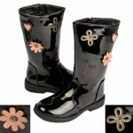 Kids Violet flat black patent riding boots £5.50 each