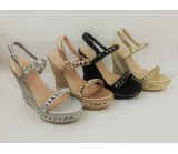 LL 1722 Women's Gladiator Studded Wedge Sandal £9.99 each + VAT